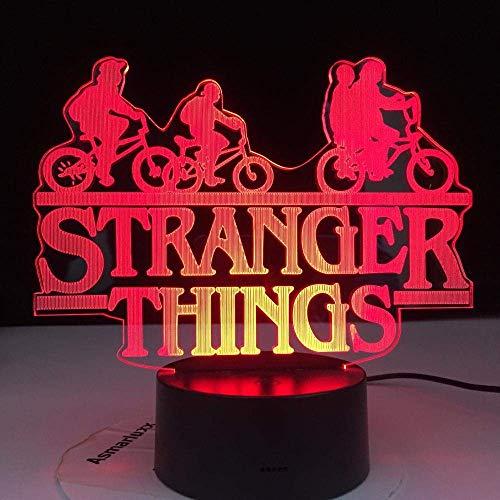 Luz de ilusión 3D Luz de noche LED Cosas extrañas American Network Serie de TV 7 Cambio de color Sensor táctil Lámpara de escritorio para dormitorio El mejor regalo de Navidad de cumpleaños para niños
