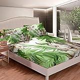 Juego de sábanas de rinoceronte con diseño de animales salvajes 3D para niños y niñas, juego de cama de hoja de palma, juego de ropa de cama con 1 funda de almohada, 2 piezas de cama individual