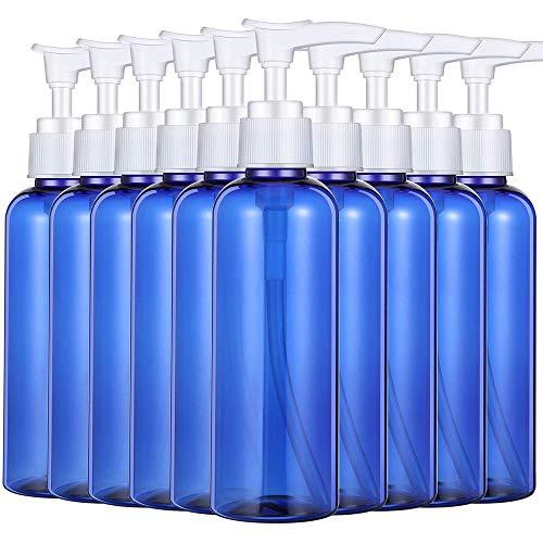 Hui Jin 10 leere Kunststoffflaschen, Lotion-Pumpe, nachfüllbare Pumpflasche, ideal für selbstgemachte Lotionen, Shampoos und Massageöle, blau