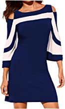 Women Blouse Daoroka Ladies Sexy Off Shoulder Patchwork 3/4 Sleeve Casual Loose Sweater Pullover T-Shirt Tops Tunic Outwear