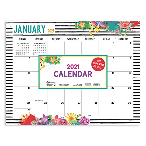 """TF PUBLISHING 2021 Floral Desk Pad Monthly Blotter Calendar - Appointment, Academic, Notes, Holiday Tracker - Home or Office Planning and Organization - Thick Uncoated Paper 17""""x22"""""""