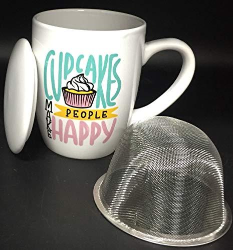 Taza para te de ceramica con tapa y filtro de acero inoxidable - tazon porcelana con filtro tea 11cm - Taza infusion Cupcakes de 350ml