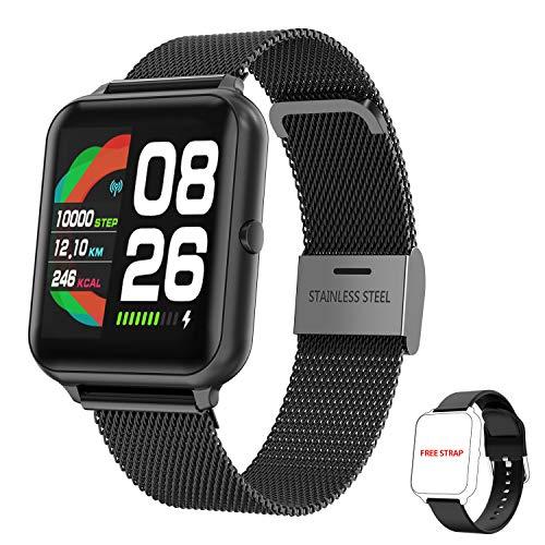 Smartwatch Damen Herren, HopoFit Fitness Tracker 1.4 Zoll Touchscreen Smart Watch mit Schrittzähler Pulsuhr Schlafmonitor Stoppuhr Wasserdicht Fitness Armband Uhr für Android iOS (schwarz)