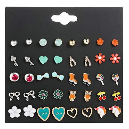 SOFEA Pendientes, 20 Pares/Color Caramelo Pendientes para niños Set Aleación de Goteo Pendiente de patín de piruleta Lindo