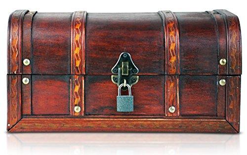 Brynnberg - Caja de Madera Cofre del Tesoro con candado Pirata de Estilo Vintage, Hecha a Mano, Diseño Retro 30x20x15cm