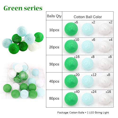 Renqian Fee 5 cm katoenen ballen, lichtsnoer, 1,5 m, 3 m, 4,5 m, 10 m, LED-lichtketting, kerstverlichting, lantaarn buiten, tuin, bruiloft, decoratie, groen, Aa-40 LEDs, warmwit