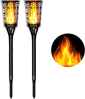 CINOTON Solar Tiki Torches Upgraded, Waterproof Solar Torch Lights with Flickering Flame, Landscape Decoration Lighting, Dusk to Dawn Auto On/Off Security Warm Light for Garden Patio Driveway (2 PACK)