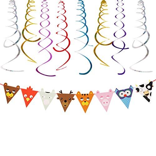 Yue668 - Colgante en espiral para decoración de fiesta de cumpleaños infantil, diseño de bandera de cumpleaños
