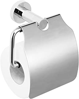 CRW Toilet Paper Holder with Cover Storage Dust-proof for Home Bathroom Chrome 90111