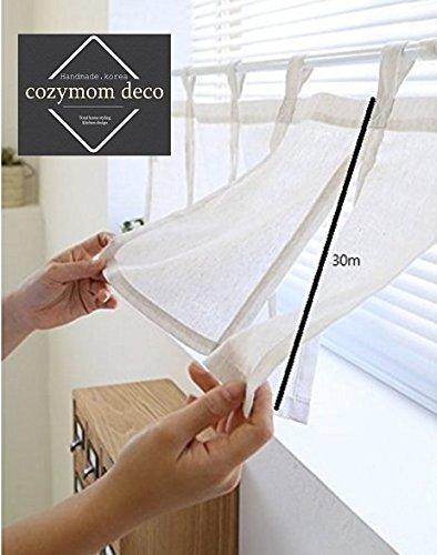 cozymom handgefertigt Natürliche Baumwolle Cafe Gardine, Küche Volants, europäische ländlichen Fashion Fenster Vorhang für Home, einem Stück 30(W) X110(L) cm-ivory Farbe