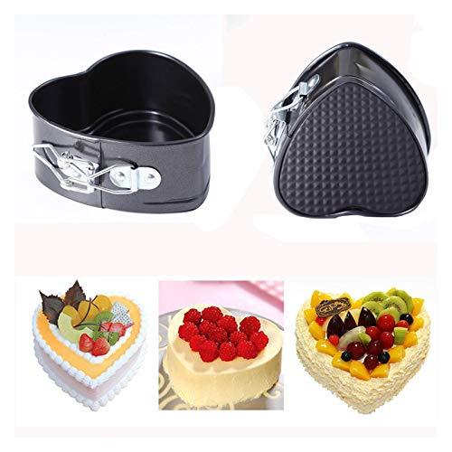 DSJTCH en Forme de Coeur gâteau Inoxydable Pan Plateau Non Stick ustensiles de Cuisson avec Buckle Outils de Cuisson gâteau Moule Boulangerie Accessoires de Cuisine (Color : Black)