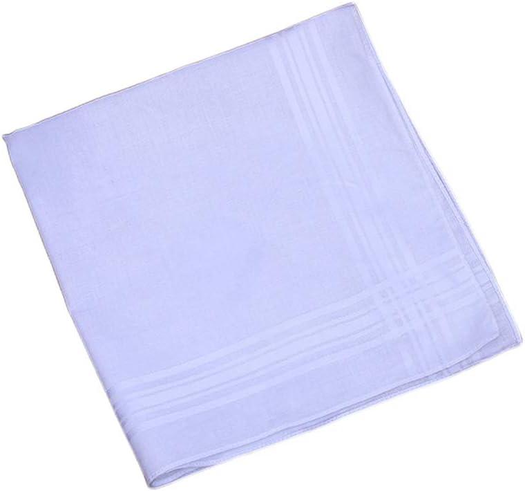 luosh Womens Handkerchiefs Fancy Woven Classic Pure White Cotton Hankies for Men Womens,40x40cm