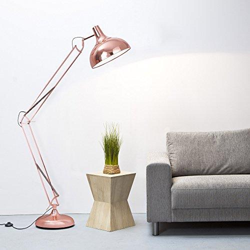 Grande lampada a stelo dal Design retrò, rame lucidato, 1,8 m regolabile in altezza, 1 x E27, con interruttore a pedale