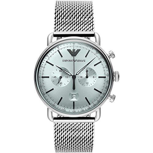 Emporio Armani - Reloj Cronógrafo Aviador con Correa de Malla de Acero Inoxidable en Tono Plateado para Hombre AR11288
