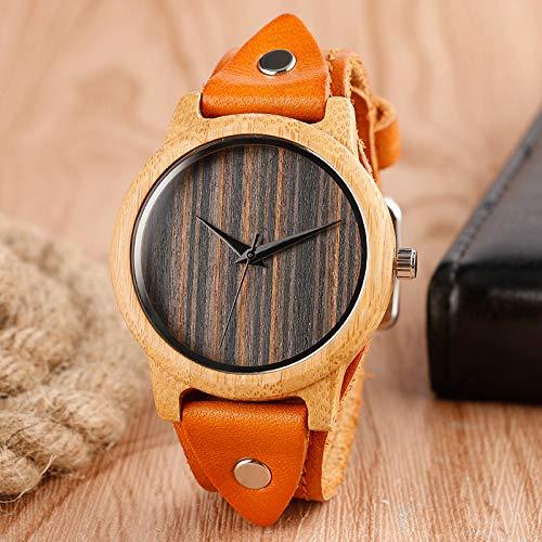 RWJFH Reloj de Madera Gran Oferta, Reloj de Pulsera para Hombre con Esfera de Rayas de bambú Natural, Correa de Cuero marrón, Relojes de Cuarzo de Madera a la Moda
