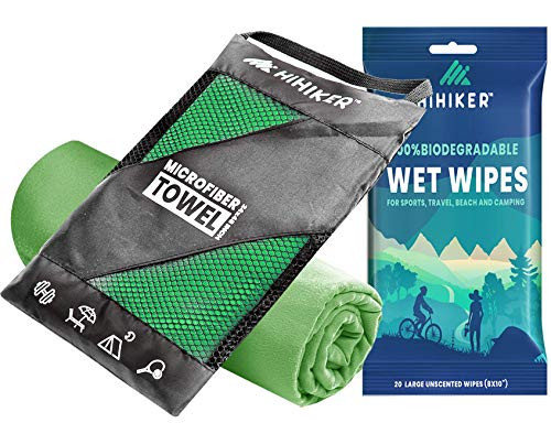 HiHiker Microfiber Camping Towel + Biodegradable Outdoor Wipes - Compact Towel Quick Dry & Lightweight for Gym, Travel, Swimming, Beach and Backpacking (Green, 24 x 48 inches)