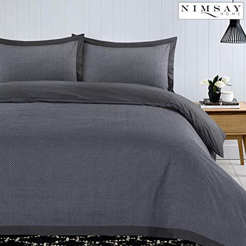 Nimsay Home Clyde 100% Cotton Soft Woven Dobby Pin Dot Quilt Duvet Cover Bedding Set - Grey - King