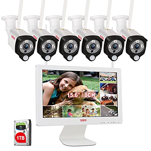 【2 Wege Audio & PIR】 Tonton 8CH WLAN Überwachungskamera Set Außen 15.6 Zoll LCD Monitor NVR mit 6stk 2MP Kabellose Wetterfest Hausüberwachungskamera App Fernzugriff 30M Nachtsicht, 1TB Festplatte