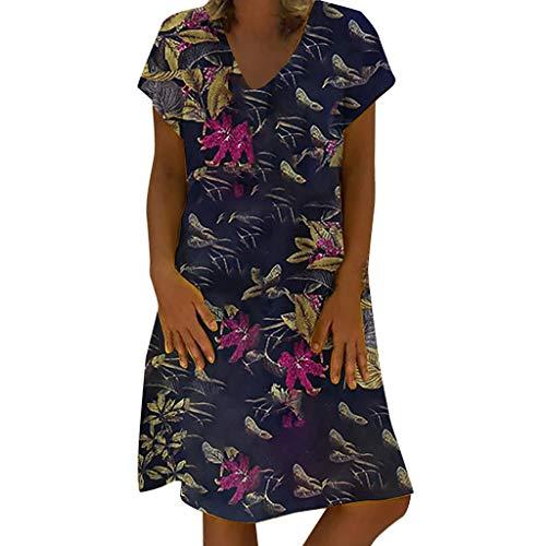 COZOCO Vestidos Mujer Verano Estampado Floral Largo Sexy Elegante y Comodo Dress Chic de Noche Playa Vacaciones Escotado por Detrás Maxi Vestidos