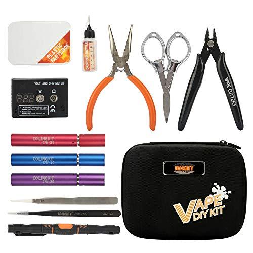 JAKEMY 12 in 1 Vape kit di attrezzi fai da te professionale cacciaviti di precisione kit di riparazione per fumo set con borsa di tela