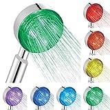 BONADE Alcachofa de ducha LED con 7 colores que cambian automáticamente, ducha de mano universal de ABS y alcachofa de ducha de lluvia LED, alcachofa de ducha para baño y spa