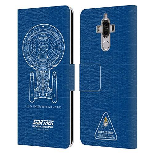 Head Case Designs Licenciado Oficialmente Star Trek USS Enterprise NCC-1701-D Adaptador de Cable Barcos De La Línea TNG Carcasa de Cuero Tipo Libro Compatible con Huawei Mate 9