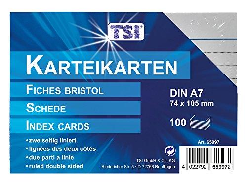 TSI - Tarjetas de cartulina (DIN A7, 100 unidades, a rayas), color blanco
