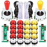 EG STARTS 2 Piezas de Arcade LED para Jugadores DIY Codificador USB 2X Elipse Óvalo Joystick de Estilo 20x Botones de Arcade LED para PC Sistema de Windows Raspberry Pi MAME Rojo & Amarillo