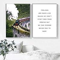 北欧アート絵画道路草地山電車橋緑の自然ポスターとプリント壁の写真リビング装飾(30x50cm)X2ノーフレーム