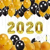 Globos de Fiesta de 2020, hicoosee Globos de látex Brillantes con Bomba de Cinta para año Nuevo Víspera Navidad Cumpleaños Decoración de Fiesta de graduación Negro y Oro 100 Piezas