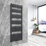 Bath-mann Heizkörper Badheizkörper Handtuchhalter für heizung Handtuchtrockner Bad Mittelanschluss Handtuchwärmer, Horizontal 180x60cm Antrazit