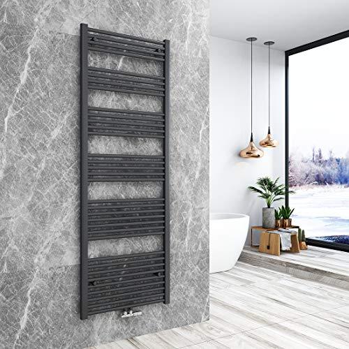 Bath-mann Heizkörper Badheizkörper Handtuchhalter für heizung Handtuchtrockner Bad Mittelanschluss Handtuchwärmer, Horizontal 180x60cm Matt Schwarz