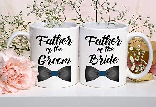 Juego de 2 tazas de regalo para padre de la novia, regalo de boda para padres, padre del novio, regalo de boda para hombres, regalos de boda para papá, té o café