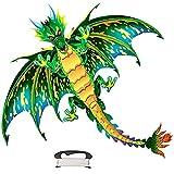 Aquilone Drago 3D, Grandi Aquiloni di Dinosauro con Coda Lunga Colorata, 145 * 150 Cm Gioco di Volo Dellaquilone Animale con 100 M di Linea, attività Allaperto per Bambini Adulti