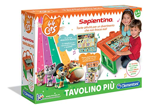 Clementoni - 16194 - Sapientino Tavolino - 44 Gatti, tavolo con giochi educativi, schede attività e penna interattiva - gioco educativo 3 anni - Made in Italy