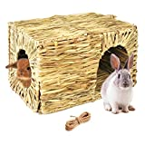 Hand Crafted Extra Large Grass Bunny House for Rabbits, Guinea Pigs and Small Animals; Edible Natural Grass Hideaway; Foldable Toy Hut with Openings; Safe and Comfortable Playhouse for Play and Sleep