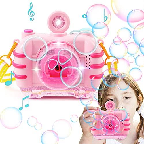 vamei Macchina per Bolle Bambini Macchina Camera Soffiatore di Bolle Ragazze Giocattolo Blaster con Soluzione di Sapone Soffiatore di Bolle Automatico per Interni all'aperto con Musica Leggera
