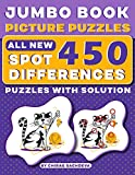 Jumbo Book Picture Puzzles : All New - Spot 450 Differences! Brain Games : How Many Differences Can You Find?: Activity Book