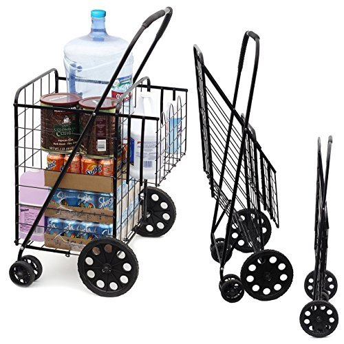 LS Jumbo Deluxe Folding Shopping Cart with Dual Swivel Wheels and Double Basket- 200 lb Capacity