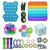 Xiaoqiao Sensory Fidget Toys Pack para niños o adultos Figetget Juguetes de mano Juguetes para aliviar el estrés y la ansiedad (multicolor, S, 22 piezas)
