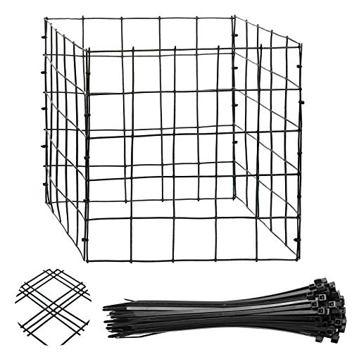 Ripeng 4 Pieces Wire Plant Protectors with Tie 12 Inch Vinyl Coated Garden Wire Plant Mesh Protectors Supports for Plants, Vegetables and Shrubs
