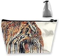 ユニセックスオーガナイザー収納バッグノベルティトイレタリーポーチトラベルメイクアップバッグ単層収納バッグ(ボヘミアンエレファント自由奔放に生きる)-抽象的な虎の絵