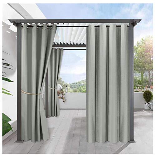 Outdoorvorhänge Wasserabweisend 2er Set Blickdicht Gardine für Terrasse Balko Vorhang mit Ösen Sonnenschutz Thermo Verdunklungsvorhänge Aussenvorhang (Farbe : D, Größe : 2 Stück(B134*H210cm))