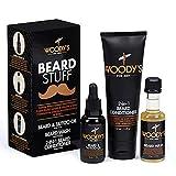 Woody's Beard Stuff 3 Piece Kit - Beard and Tattoo Oil, Beard Wash, 2-in-1 Beard Conditioner