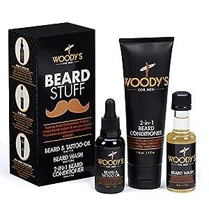 Woody's Beard Stuff 3 Piece Kit - Beard and Tattoo Oil, Beard Wash, 2-in-1 Beard Conditioner 4