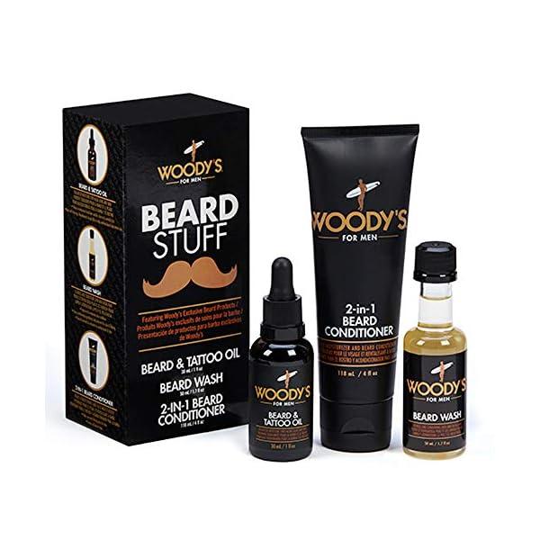 Woody's Beard Stuff 3 Piece Kit - Beard and Tattoo Oil, Beard Wash, 2-in-1 Beard Conditioner 1