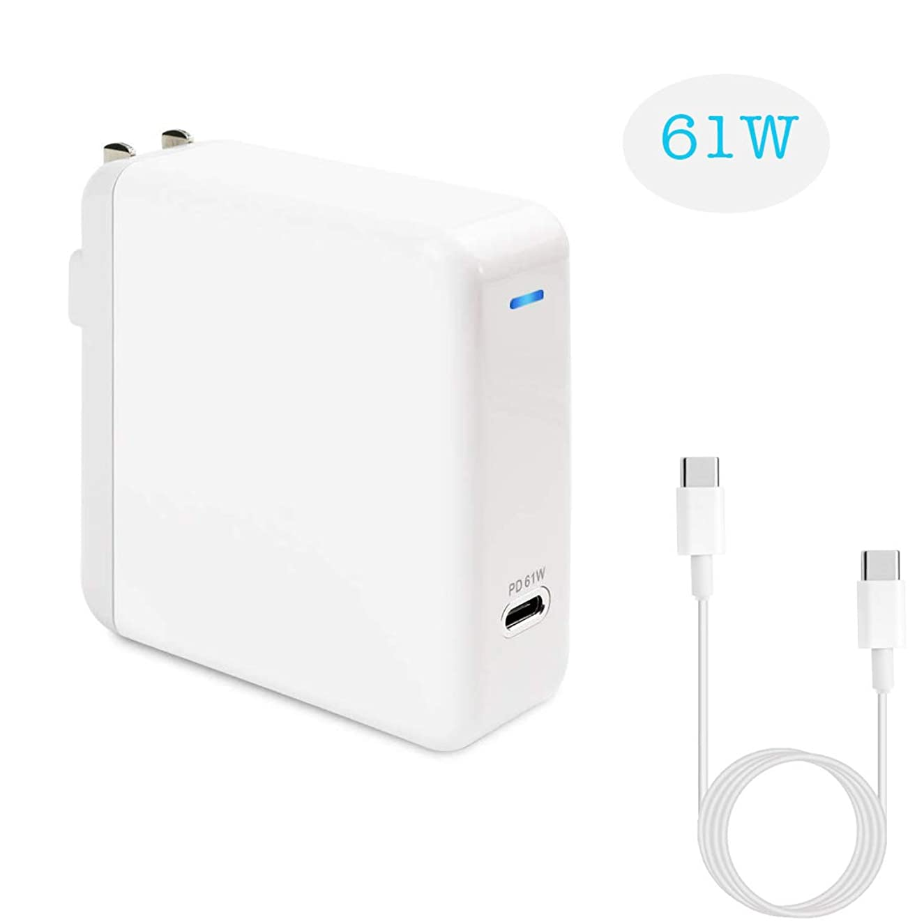 USB C Charger, 61W USB Type C Power Adapter Wall Charger with 3.3ft USB-C Cable, PD Charger Replacement for MacBook Pro/Air, HP Spectre, Dell XPS, iPad Pro, iPhone, Galaxy and More [UL Listed]
