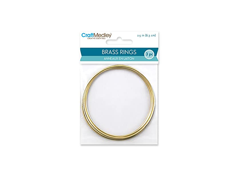 CraftMedley Brass Rings, 2.5in, Round, 3-Piece, 2.5