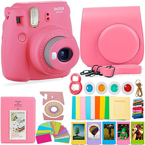 FujiFilm Instax Mini 9 Camera and DNO Accessories Bundle - Carrying Case, Color Filters, Photo Album, Stickers, Selfie Lens + More (Flamingo Pink)