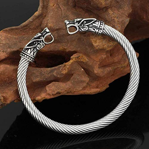 Wolf Head Bracelet Arm Ring Norse Mythology Pagan Amulet Jewelry Men s Stainless Steel Adjustable Biker Cuff Gift